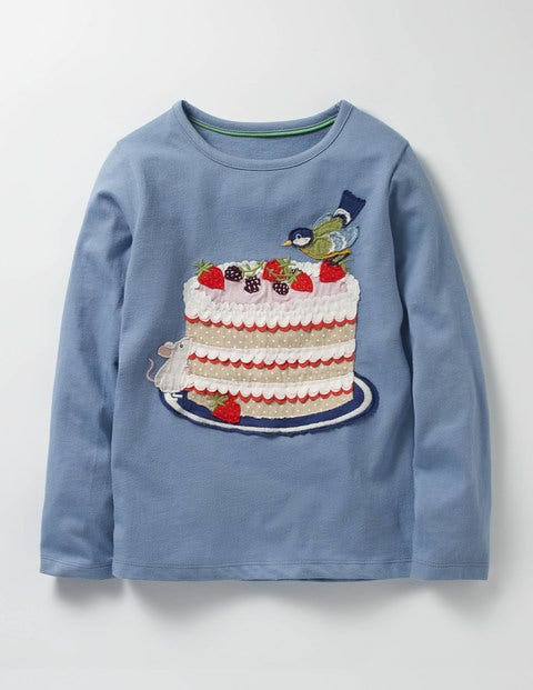 Big Appliqué T-shirt Bluebell Blue Cake Girls Boden, Blue
