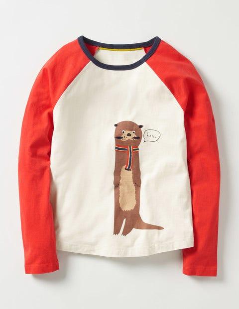 Fun Raglan T-shirt Ecru Otter Girls Boden