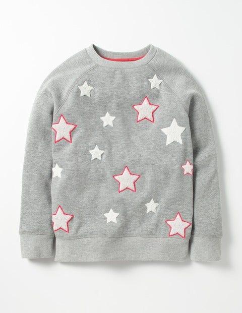 Star Bouclé Sweatshirt Grey Marl Stars Girls Boden