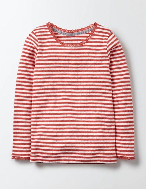 Superweiches T-Shirt Mit Zierborte - Naturweiß/Hagebuttenrot, Gestreift