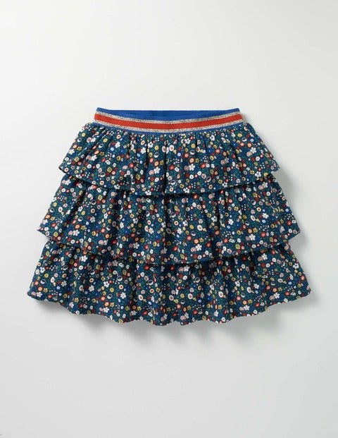 Printed Ruffle Skirt Navy Ditsy Folk Floral Girls Boden