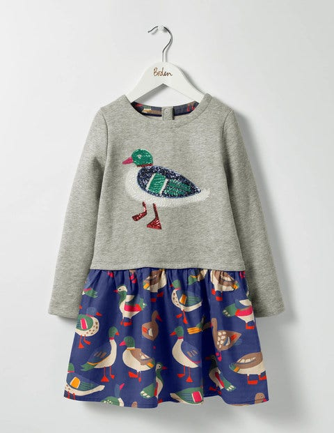 Sequin Appliqué Dress - Grey Marl/Rainbow Ducks
