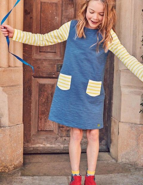 Stripy Jersey Dress - Washed Bluebell Blue