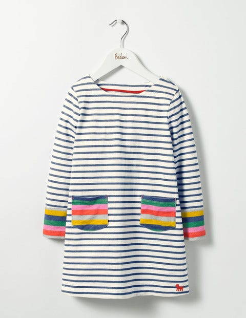 Stripy Jersey Dress Ecru/School Navy Girls Boden