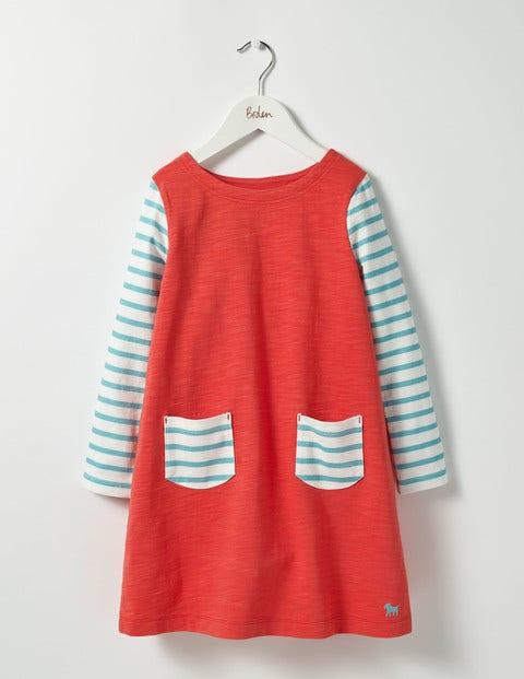 Stripy Jersey Dress Jam Red Girls Boden