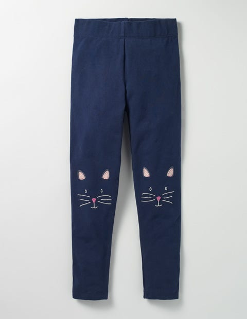 Appliqué Leggings School Navy Cat Girls Boden