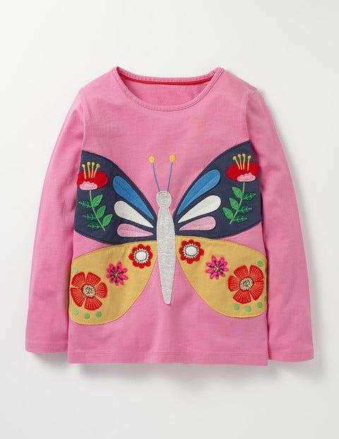 Felt Appliqué T-shirt Plum Blossom Pink Butterfly Girls Boden, Plum Blossom Pink Butterfly
