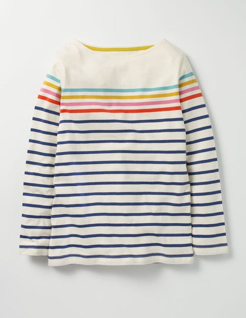 Colourfully Stripy T-shirt Navy/Ecru Rainbow Girls Boden