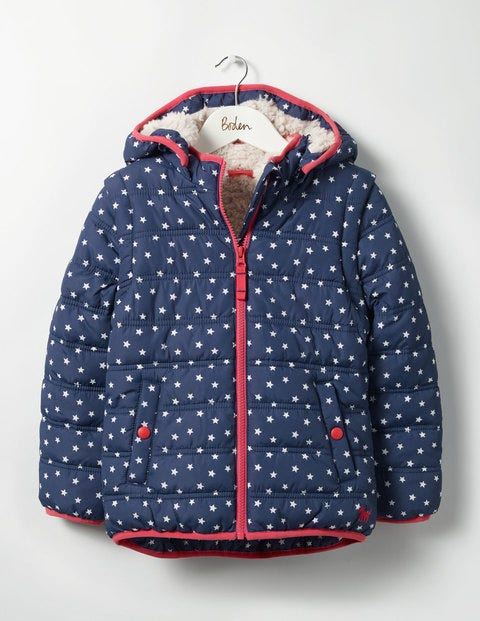 Cosy Two-in-one Padded Jacket School Navy Stars Girls Boden