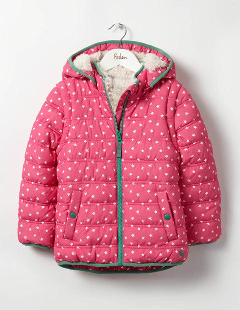 Cosy Two-in-one Padded Jacket Honeysuckle Pink Stars Girls Boden