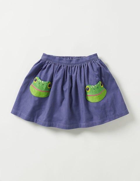 Animal Pocket Skirt Dark Wisteria Purple Frog Girls Boden