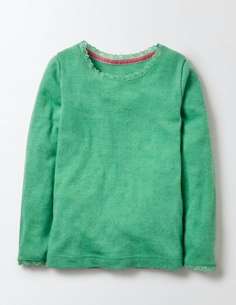 Supersoft Pointelle T-shirt Wasabi Marl Girls Boden, Wasabi Marl