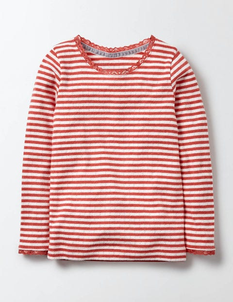 Supersoft Pointelle T-shirt Ivory/Rosehip Stripe Girls Boden, Ivory/Rosehip Stripe.
