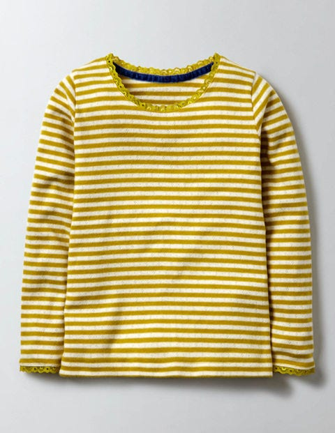 Supersoft Pointelle T-shirt Ivory/Mimosa Stripe Girls Boden, Ivory/Mimosa Stripe.