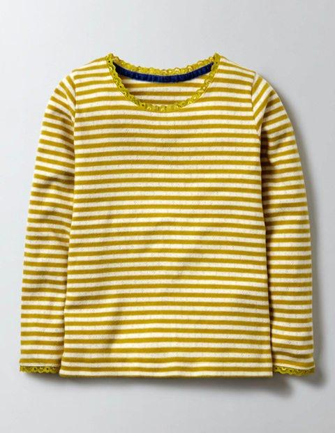 Supersoft Pointelle T-shirt Ivory/Mimosa Stripe Girls Boden, Ivory/Mimosa Stripe.