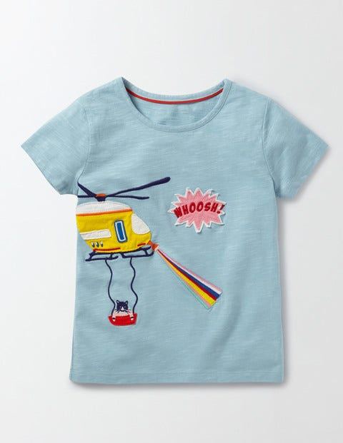 Save the Day Tshirt Mineral Blue Helicopter Girls Boden Mineral Blue Helicopter