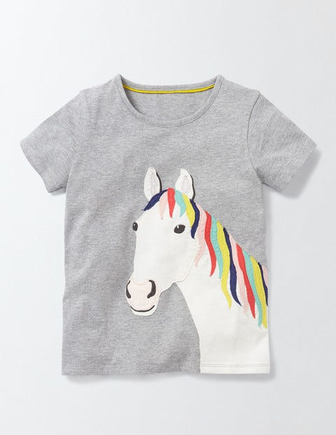 Big Appliqué Tshirt Grey Marl Horse Girls Boden Grey Marl Horse