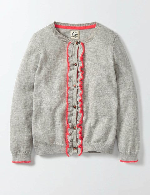 Frilly Cardigan Silver Marl Knit Girls Boden Silver Marl Knit