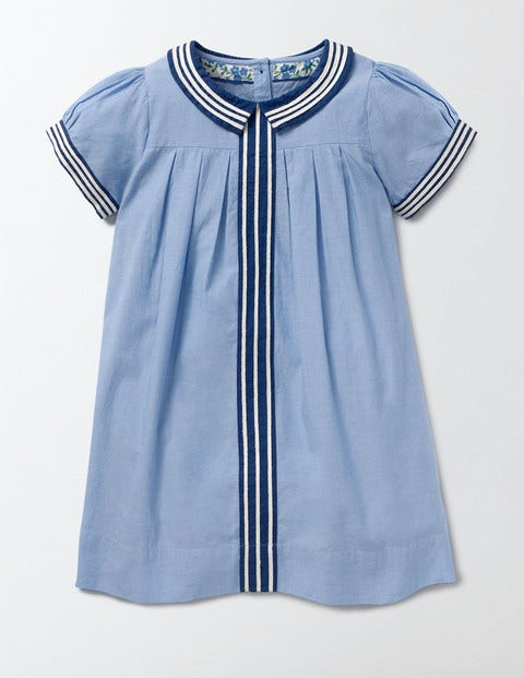 Vintage Style Children's Clothing: Girls, Boys, Baby, Toddler Pretty Collar Dress Light Chambray Girls Boden Light Chambray £15.00 AT vintagedancer.com