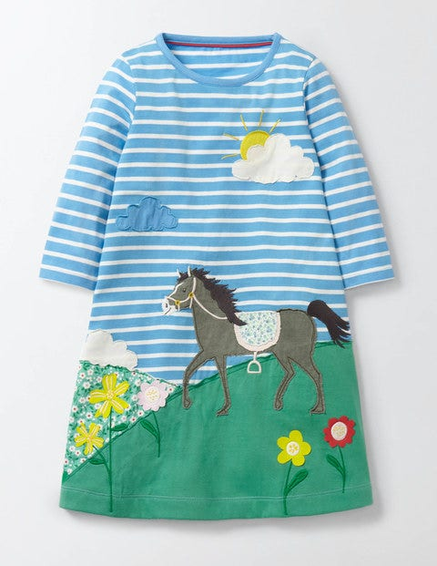 Favourite Pet Dress Bright Bluebell/Ivory Horse Girls Boden, Bright Bluebell/Ivory Horse