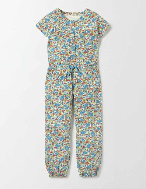 Jersey Jumpsuit Bright Bluebell Flower Bed Girls Boden, Bright Bluebell Flower Bed.