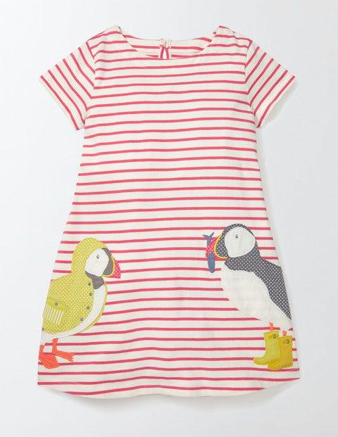 Stripy Appliqué Jersey Dress Raspberry Whip Puffin Girls Boden, Raspberry Whip Puffin