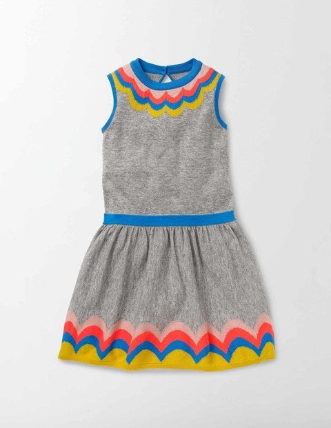 Colourful Knitted Dress Grey Marl Knit Girls Boden Grey Marl Knit