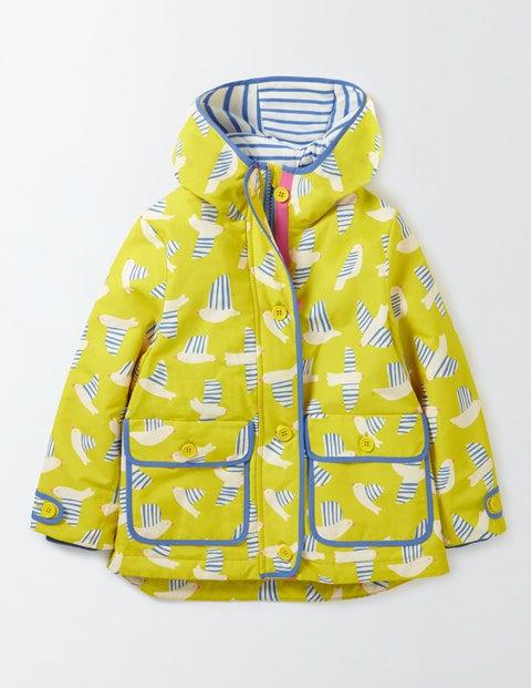 Jersey Lined Anorak Cantaloupe Stripy Birds Girls Boden