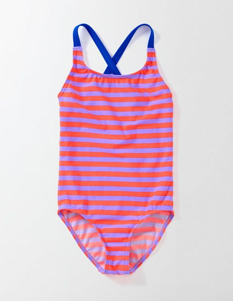 Fun Swimsuit Purple/Neon Stripe Girls Boden, Purple/Neon Stripe