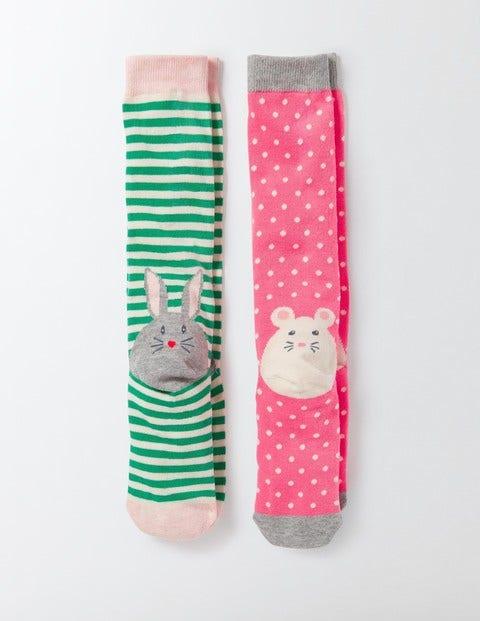 2 Pack Knee Socks Novelty Animal Heel Girls Boden