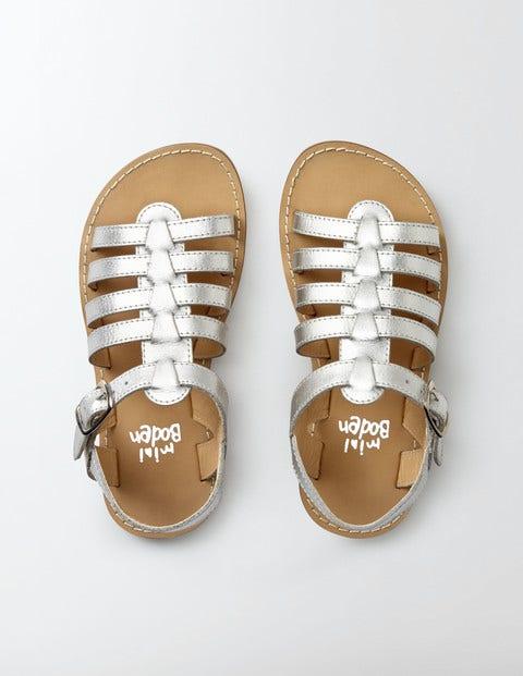 Leather Gladiator Sandals Silver Metallic Girls Boden