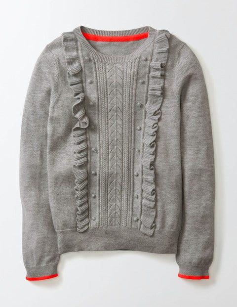 Gloria Knitted Jumper Grey Marl Knit Girls Boden Grey Marl Knit