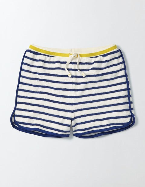 Towelling Shorts Ivory/Starboard Stripe Girls Boden