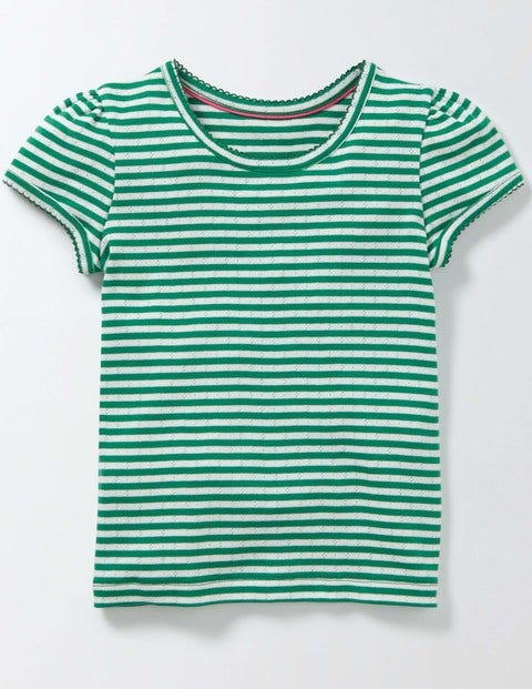 Short Sleeve Pointelle T-shirt Ivory/Wasabi Stripe Girls Boden