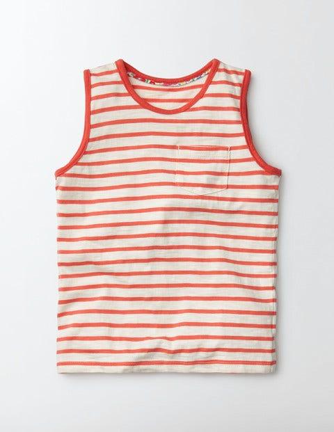 Stripy Holiday Vest Ivory/ Coral Crush Stripe Girls Boden