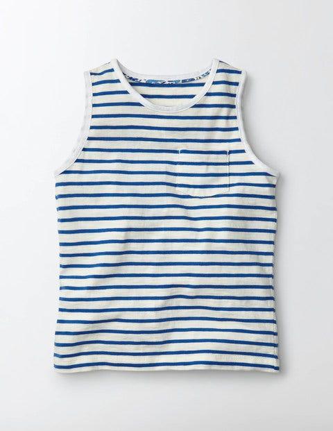 Stripy Holiday Vest Ivory/Island Sapphire Stripe Girls Boden, Ivory/Island Sapphire Stripe
