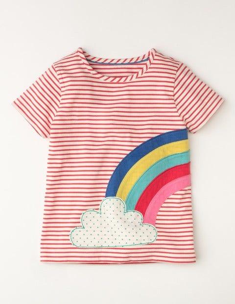 Stripy Summer T-shirt Dark Pink Girls Boden, Dark Pink