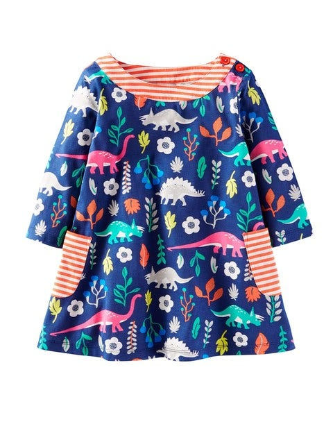 Printed Jersey Tunic Summer Dress Blue Mini Boden