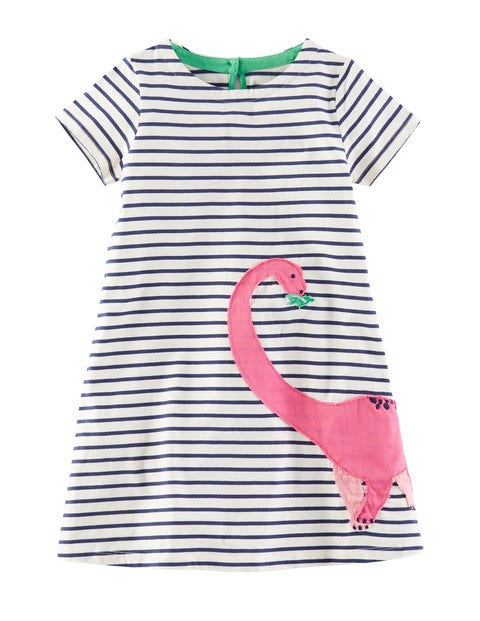 Florasaurus Applique Dress Ivory/Dinosaur Girls Boden