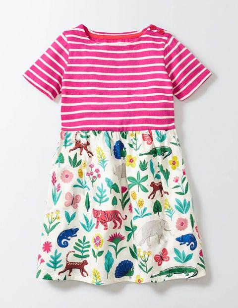 Summer Hotchpotch Jersey Dress Multi Tropical Garden Girls Boden