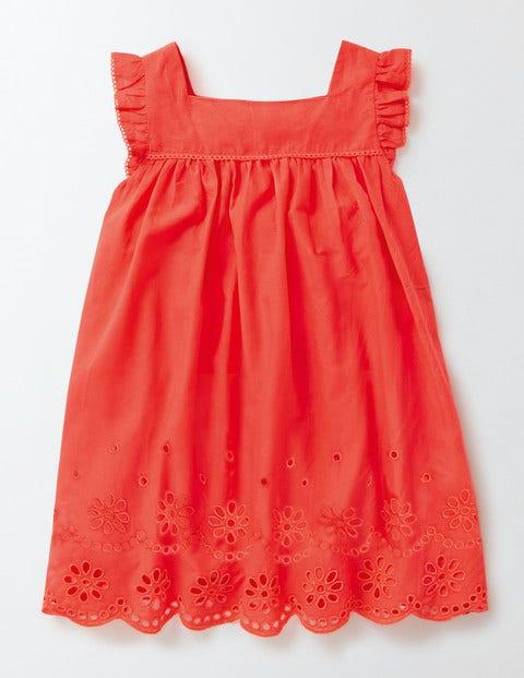 Broderie Detail Dress Coral Crush Girls Boden
