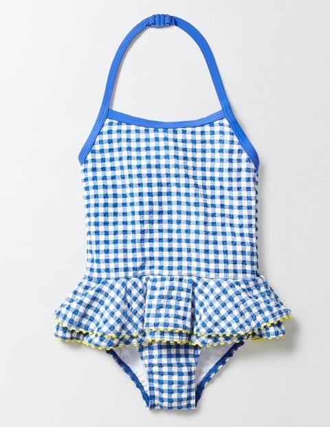 Pretty Ruffle Swimsuit Skipper/Ivory Gingham Girls Boden