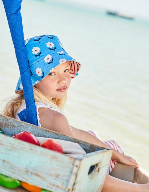 Jersey Reversible Hat - Bright Bluebell Flower Stamp