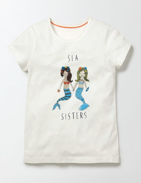 Antonia T-shirt Ivory Sea Sisters Girls Boden, Ivory