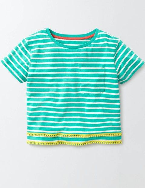 Thelma Top Soft Jade/Ivory Stripe Girls Boden, Blue
