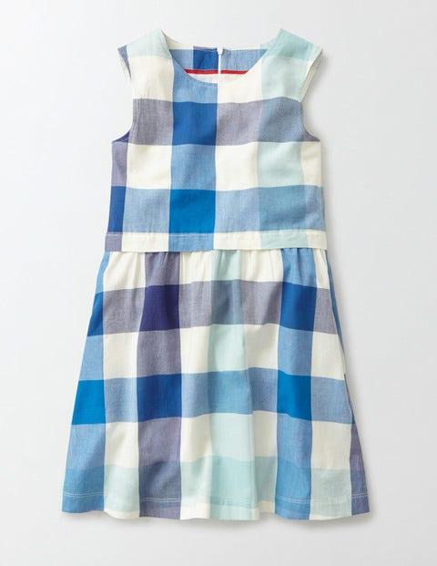 Nerissa Dress Skipper/Island Sapphire Check Girls Boden, Blue
