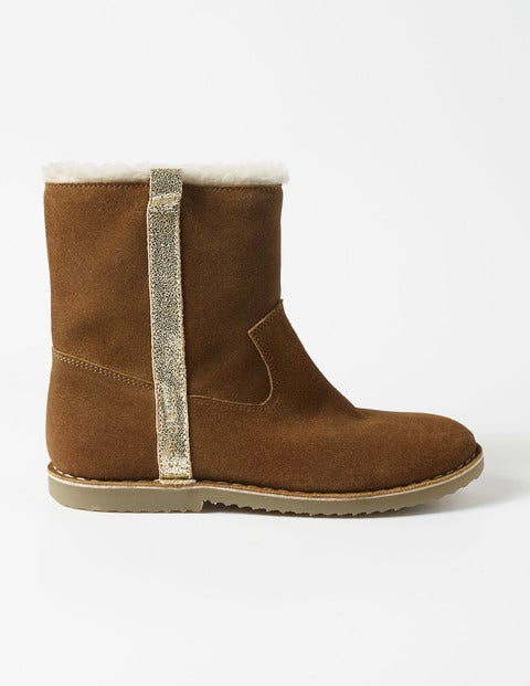Suede Sherpa-lined Boots Chestnut Brown Girls Boden