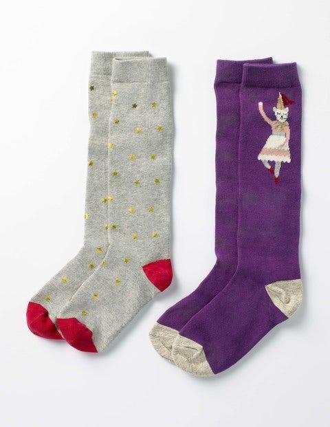 2 Pack Knee-High Socks - Blackcurrant Purple/Gold Star
