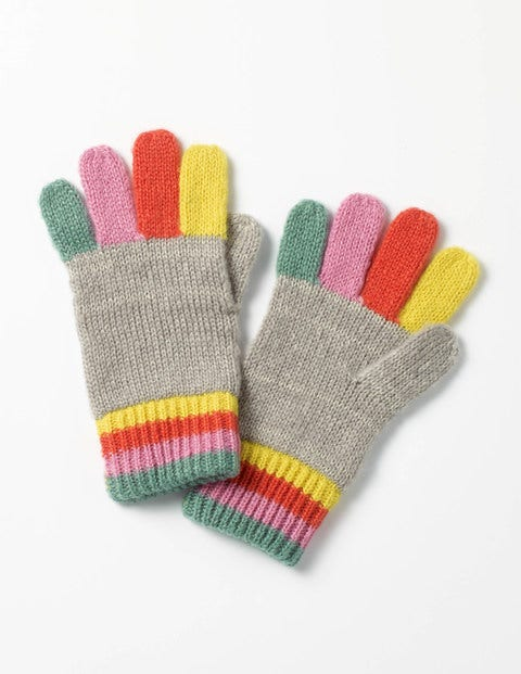 Rainbow Gloves Grey Marl Girls Boden