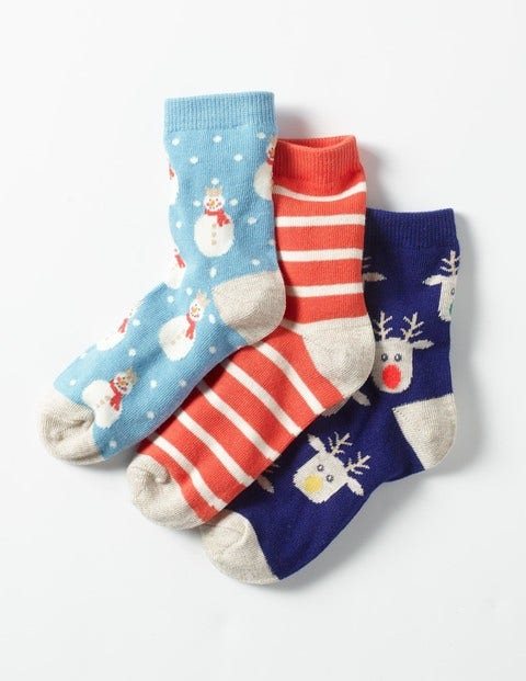 3 Pack Festive Socks Festive Girls Boden